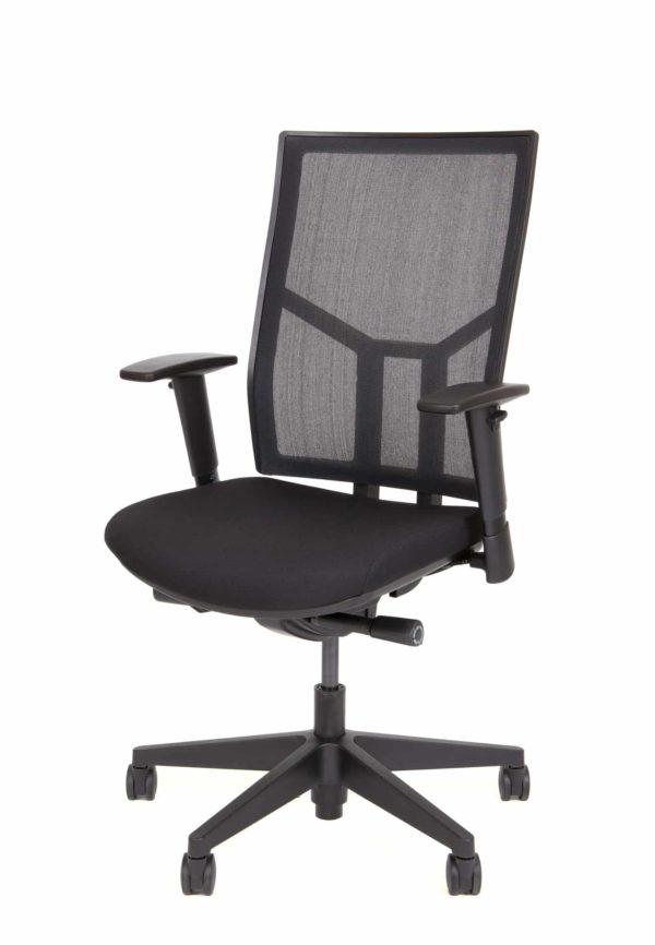Ergonomische bureaustoel zwart stof/zwart mesh