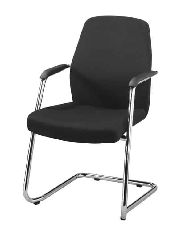Vergaderstoel hoge rug Elan in zwarte stoffering of zwart leatherlook