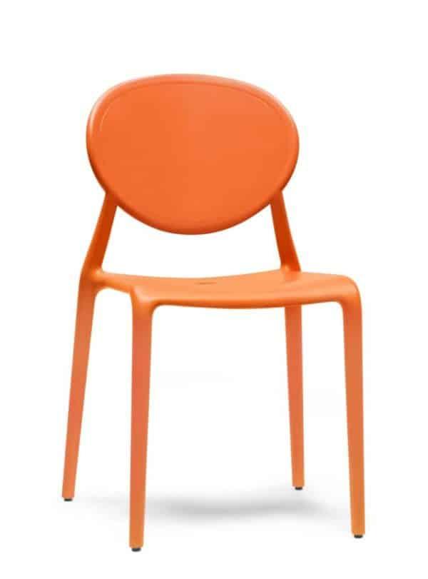 Kantinestoel of tuinstoel Italiaans design Oranje
