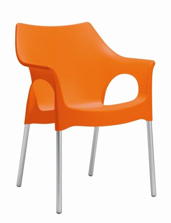 Kantinestoel of tuinstoel Modern recyclebaar Oranje
