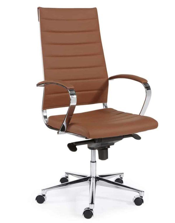 Ergonomische bureaustoel design 601 hoge rug in Cognac