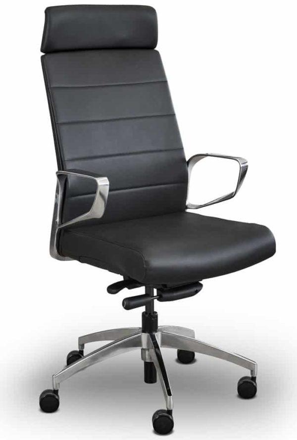 Ergonomische directiefauteuil 605 chroom/zwart van echt leder