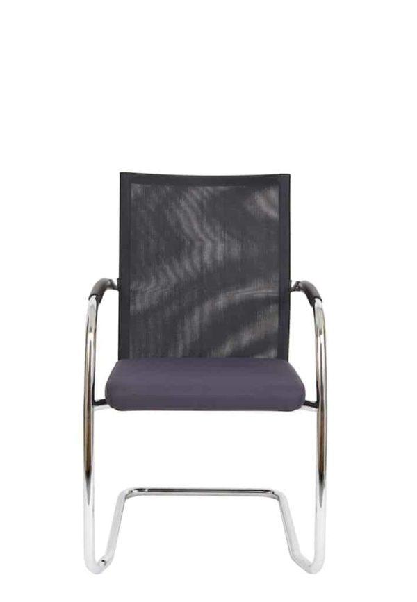 Vergaderstoel F260 slede frame met zwarte rug mesh en grijze zitting