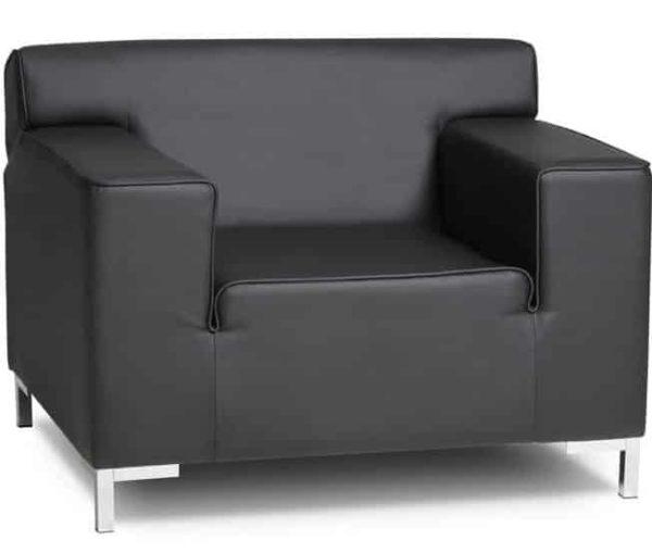 Fauteuil 1-Zits bankje in zwart lederlook