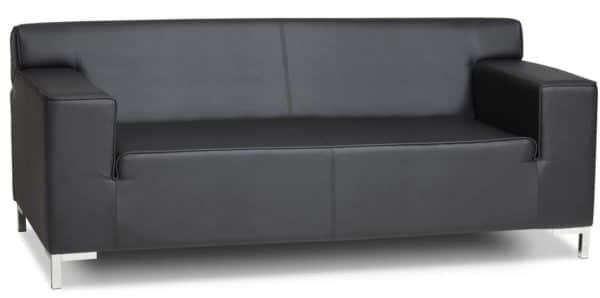 3-Zits bank in zwart lederlook