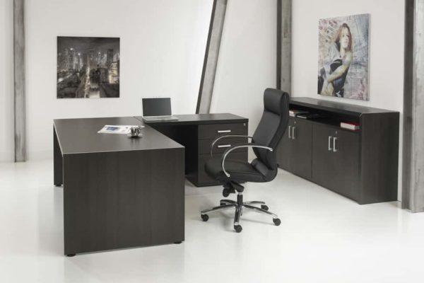 Directiebureau Chief model hoekbureau rechts met ladenblok 210x210cm Donker Eiken