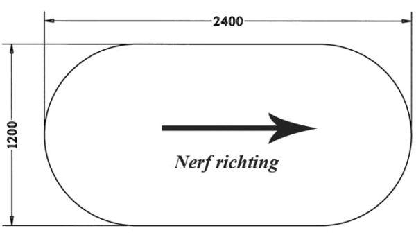 Los ovaal 25 mm melamine bureaublad 240x120CM