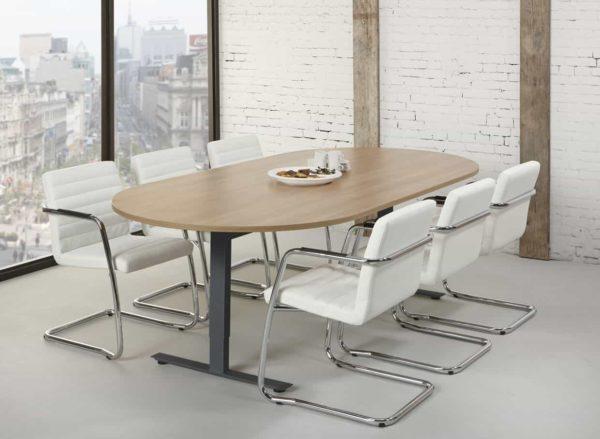 Ovale vergadertafel design T-poot Teez 240x120cm