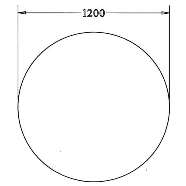 Los rond 25 mm melamine bureaublad 120CM doorsnede