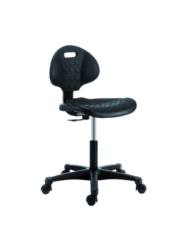Lage werkstoel in zwart PU