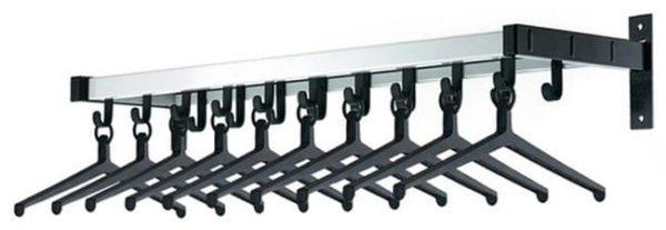 Wandgarderobe 100x31cm met 10 hangers en 9 haken