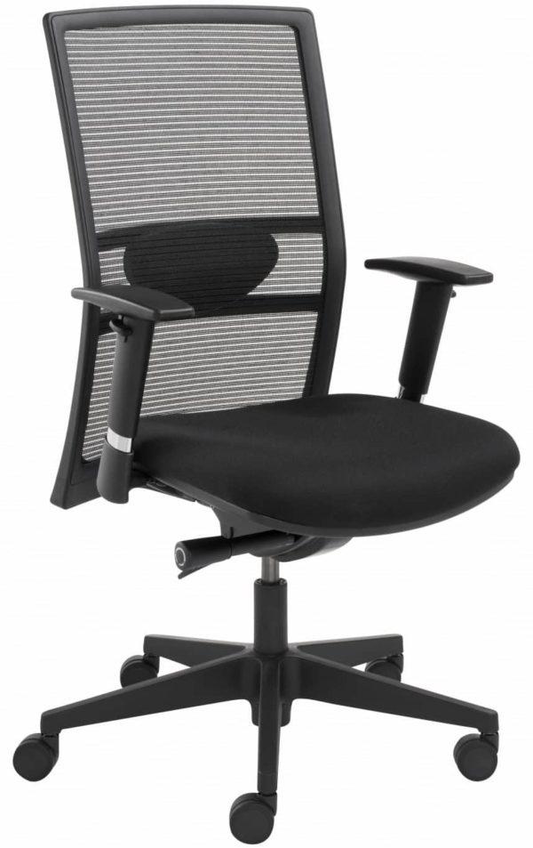 Ergonomische EN-1335 genormeerde bureaustoel 1514 met rug in Zwart