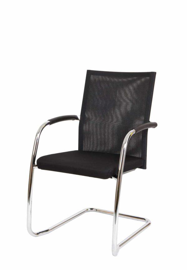 Vergaderstoel F260 slede frame met zwarte rug mesh en zwarte zitting