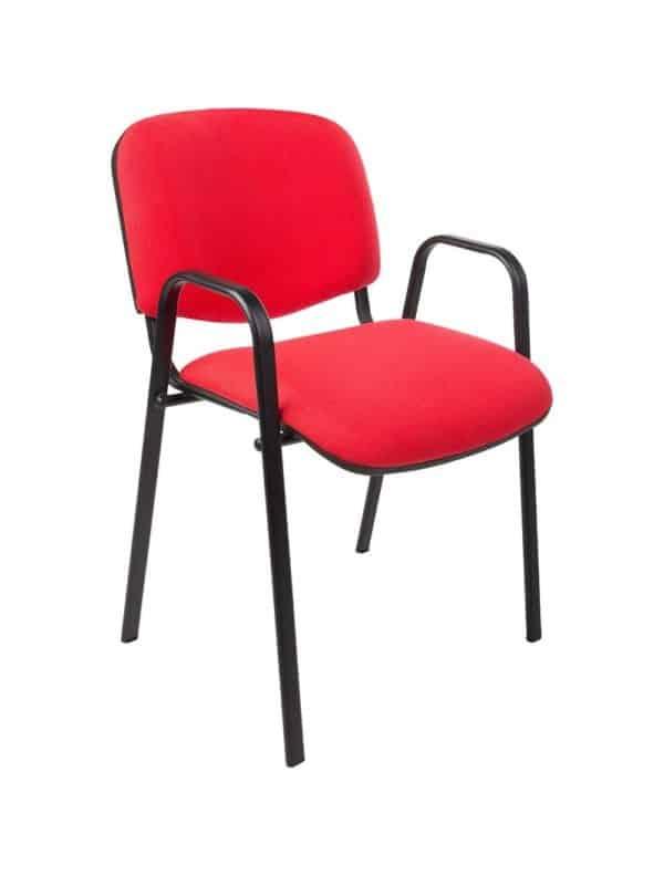 Vergaderstoel of conferentiestoel basic zwart frame met armleuningen Rood stof