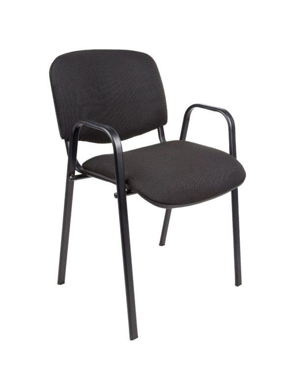 Vergaderstoel of conferentiestoel basic zwart frame met armleuningen Zwart stof