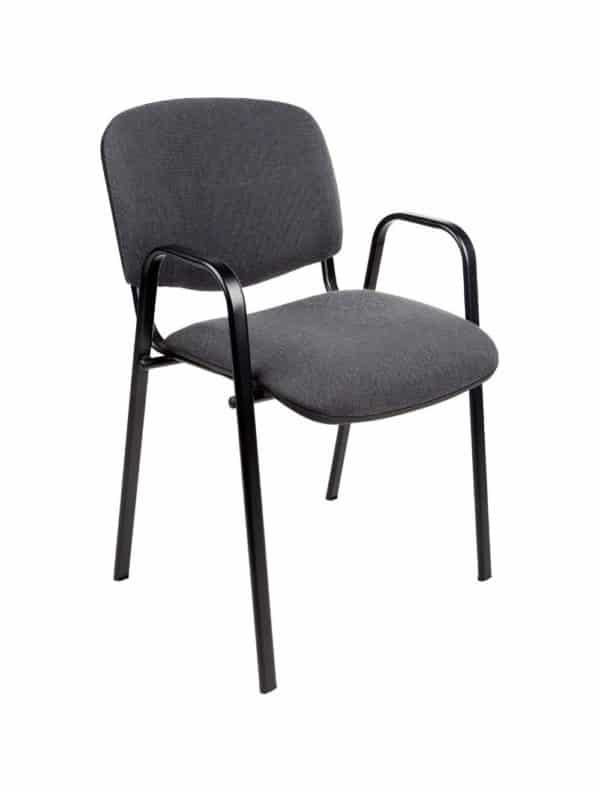 Vergaderstoel of conferentiestoel basic zwart frame met armleuningen Antraciet stof