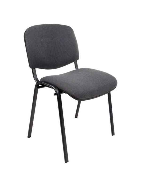 Vergaderstoel of conferentiestoel basic zwart frame zonder armleuningen Antraciet stof