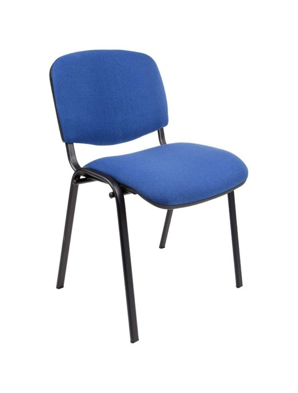 Vergaderstoel of conferentiestoel basic zwart frame zonder armleuningen Donkerblauw stof