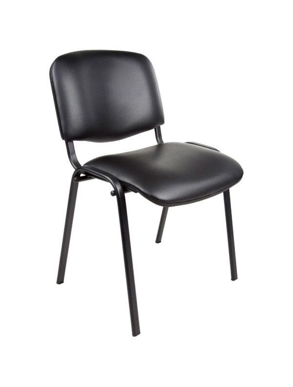 Vergaderstoel of conferentiestoel basic zwart frame zonder armleuningen zwart kunstleer