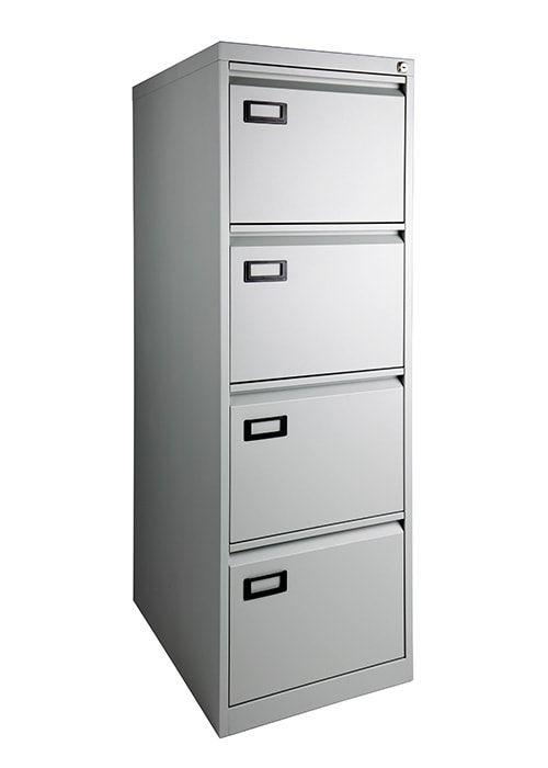 Stalen hangmapkasten dossierkast 4-laden aluminium