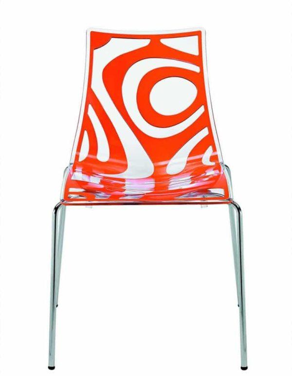 Kantinestoelen Design Luisa Battaglia Doorschijnend oranje