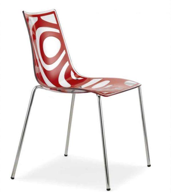 Kantinestoelen Design Luisa Battaglia Doorschijnend rood