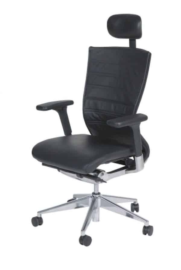 Bureaustoel serie 105 Zwart zitting Echt leer rug met hoofdsteun