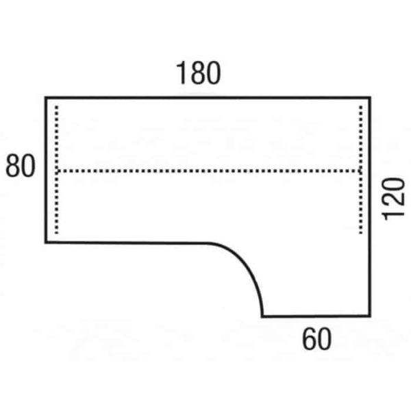 Los 25 mm melamine 180×120-80×60 links of rechts bureaublad Wing