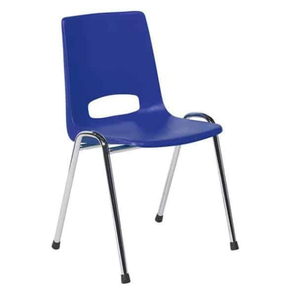 Kantinestoel Arena chroom blauw zonder armleuningen