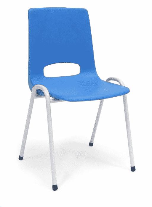 Kantinestoel Arena wit blauw zonder-armleuningen koppelbaar