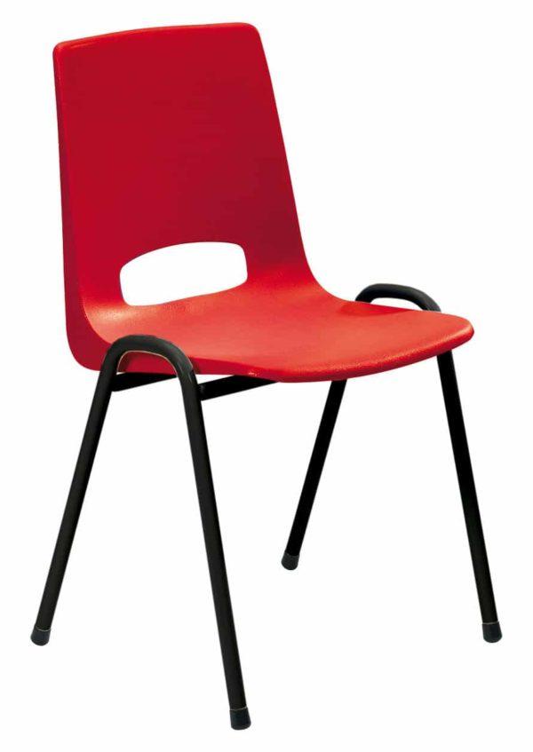 Kantinestoel Arena zwart rood zonder armleuningen