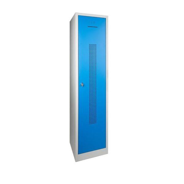 Garderobekast perfo deur met scheiding t.b.v. schoon-vuil indeling 1 deurs Blauw