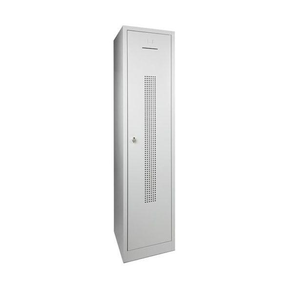 Garderobekast perfo deur met scheiding t.b.v. schoon-vuil indeling 1 deurs Grijs