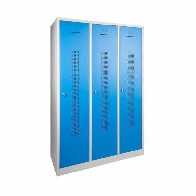 Garderobekast perfo deur met scheiding t.b.v. schoon-vuil indeling 3 deurs Blauw