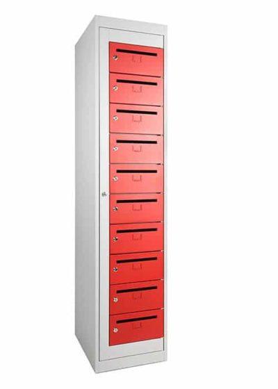 Stalen Postkast Grijs Frame Rode Deuren